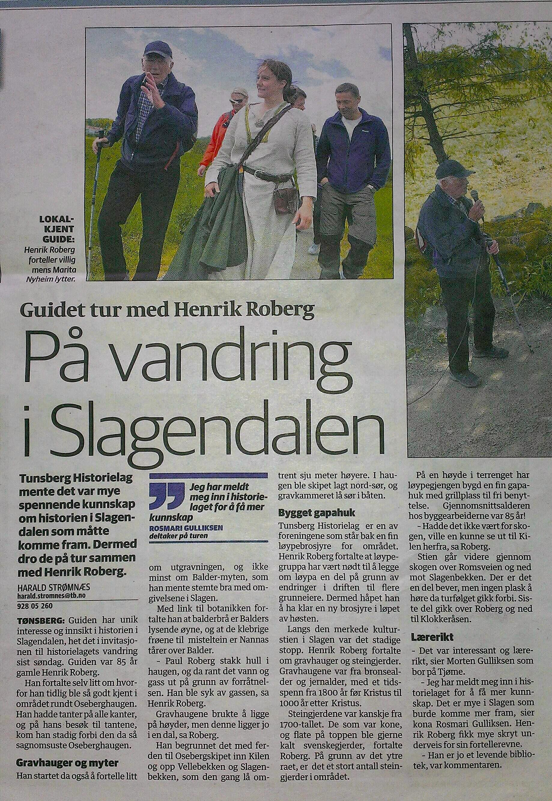 Bilde fra avisa Osebergstien red.